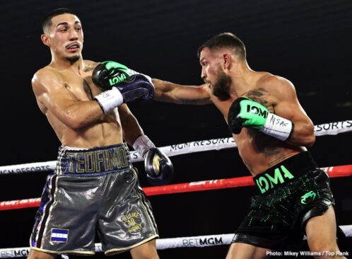 "Teofimo Lopez, Vasiliy Lomachenko - IBF lightweight champion Teofimo Lopez (16-0, 12 KOs) fought well in beating WBA/WBC/WBO champion Vasily Lomachenko (14-2, 10 KOs) in beating him by an upset 12 round unanimous decision by a fairly wide set of scores on Saturday night at the ""The Bubble"" at the MGM Grand in Las Vegas."