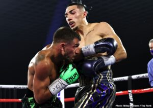 """Teofimo Lopez - Arguably THE hottest fighter in the sport right now, four-belt lightweight ruler Teofimo Lopez has already been asked what his next move will be; this just hours after his brilliant, upset win over pound-for-pound best (in the opinion of many) Vasyl Lomachenko. 23 year old Lopez, 16-0(12), who stated before Saturday night's win that he is """"the new face of boxing,"""" and that we haven't seen anything like his full talents yet, sure seems to have plenty of options."""