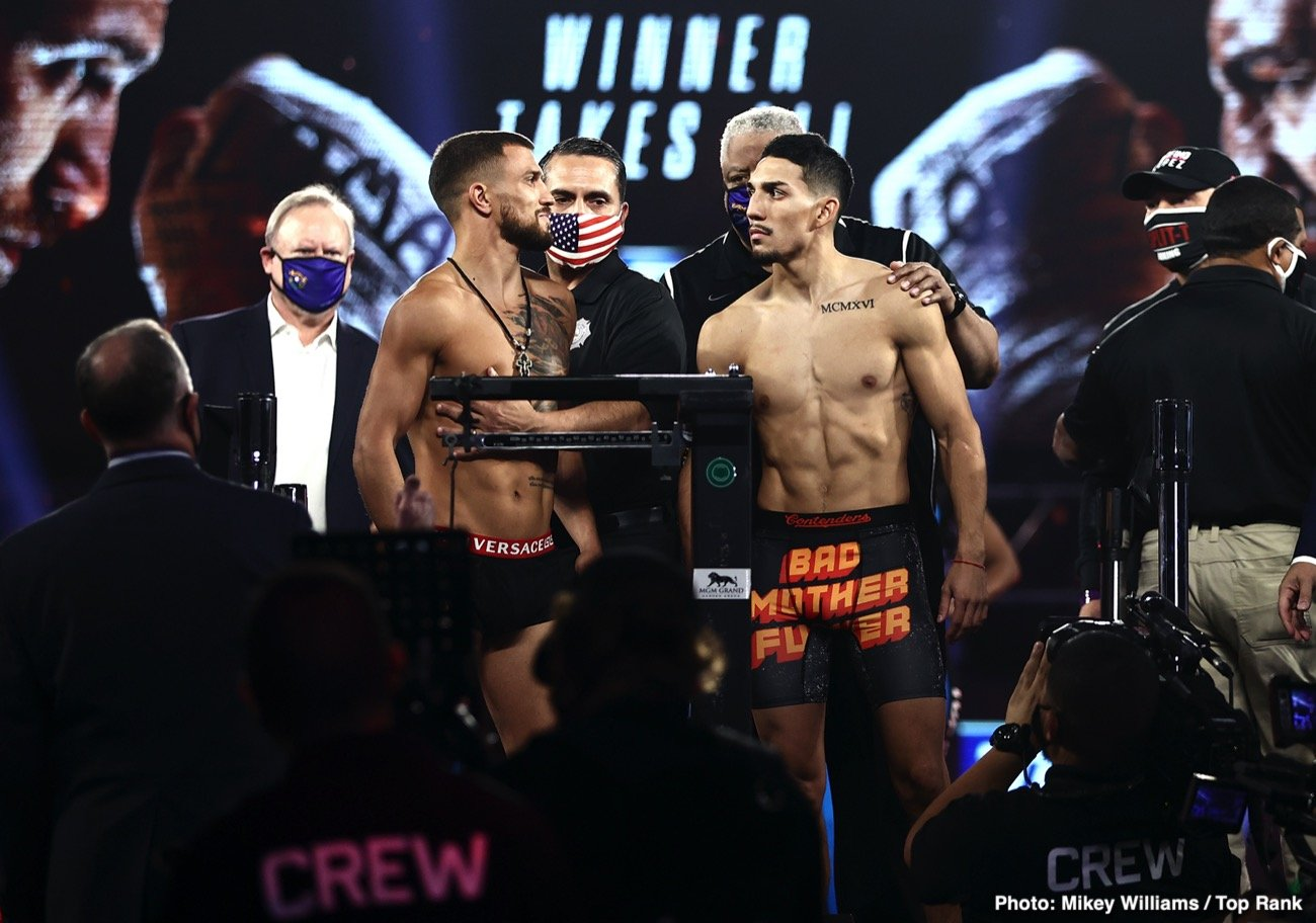 Teofimo Lopez, Vasiliy Lomachenko - This Saturday night, all the belts are on the line at the 135-pound division when Vasiliy Lomachenko and Teofimo Lopez step into the ring to create a lineal title. A young lion and a top-tier pound for pound boxer, looking to make a statement in the most anticipated fight left on the calendar.