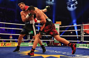 Peter Kadiru - Robin Krasniqi (51-6, 19 KOs) upset WBA interim light heavyweight champion Dominic Bösel  (30-2, 12 KOs) via spectacular knockout in the 3rd round in the GETEC ARENA in Magdeburg, Germany yesterday. 2000 fans, under strictly implemented Corona rules, saw a highly dramatic fight, which thrilled boxing fans and TV viewers. In his third try, Krasniqi finally fulfilled his world title dream after losing to Nathan Cleverly and Jürgen Brähmer in his first two attempts and knocked out Bösel cold at 2:25 of the third round.