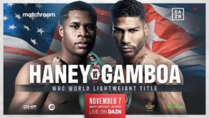 Devin Haney - Devin Haney will defend his WBC World Lightweight title against Yuriorkis Gamboa on Saturday, Nov. 7 and Daniel Jacobs will clash with Gabriel Rosado on Friday, Nov. 27, both behind closed doors and subject to strict COVID-19 protocols at Hard Rock Live at Seminole Hard Rock Hotel & Casino Hollywood, Florida, live on DAZN.