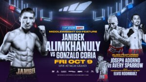 Elvis Rodriguez - October 9: Janibek Alimkhanuly-Gonzalo Coria, Joseph Adorno-Avery Sparrow and Elvis Rodriguez Added to Emanuel Navarrete-Ruben Villa Card - Navarrete-Villa and Alimkhanuly-Coria to air LIVE on ESPN at 10 p.m. ET -- Undercard to stream live on ESPN+ at 7:30 p.m. ET