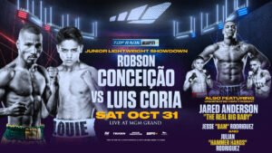 Press Room - ESPN+ stream to begin at 7:30 p.m. ET/4:30 p.m. PT - Robson Conceição, a 2016 Olympic gold medalist for his native Brazil, seeks to notch the signature win of his unblemished professional career when he takes on Luis Coria in a 10-round junior lightweight fight Saturday, Oct. 31 from the MGM Grand Las Vegas Bubble.