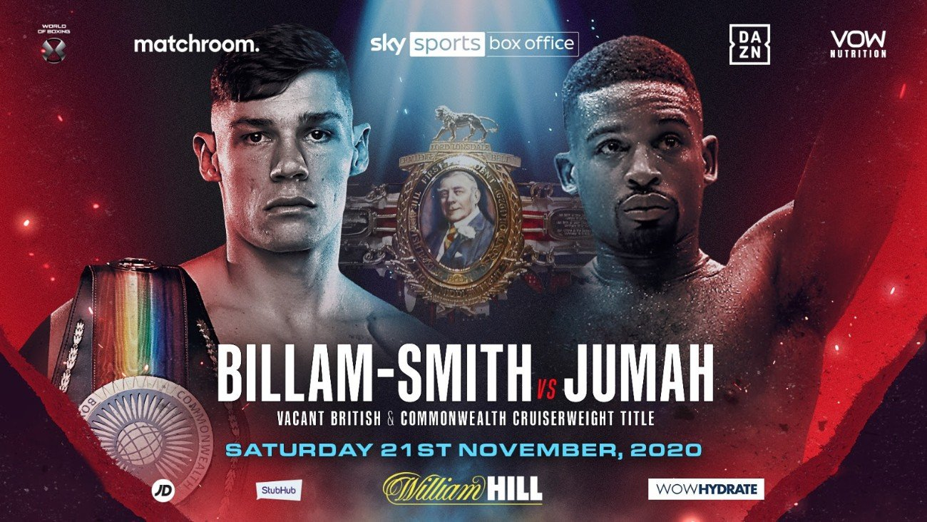 Chris Billam-Smith, Deion Jumah - Chris Billam-Smith will take on Deion Jumah for the vacant British Cruiserweight Title on the undercard of Alexander Povetkin's huge rematch with Dillian Whyte on Saturday, November 21, shown live on Sky Sports Box Office.