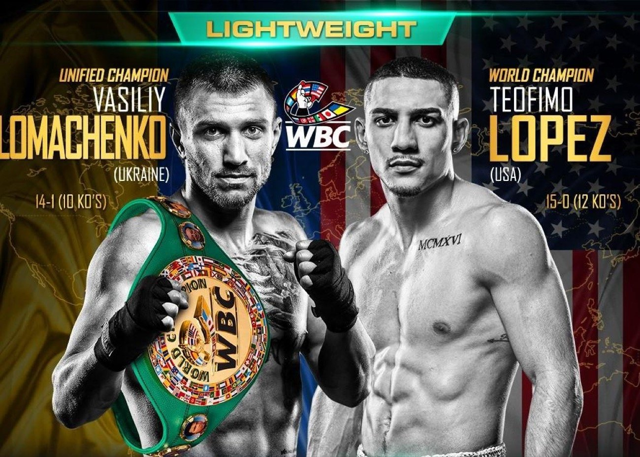Teofimo Lopez, Vasiliy Lomachenko - The biggest boxing event of the fall airs live on ESPN, this Saturday, October 17 when WBC Franchise /WBA /WBO world champion Vasiliy Lomachenko and IBF kingpin Teofimo Lopez, clash in a lightweight unification showdown live from the MGM Grand Hotel & Casino in Las Vegas. Live coverage begins at 7:30 p.m. ET, with undercard action on ESPN, ESPN Deportes (in Spanish) and ESPN+ (English and Spanish).
