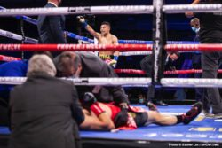 """Gervonta Davis, Leo Santa Cruz - Gervonta """"Tank"""" Davis delivered a Knockout of the Year candidate over four-division world champion Leo Santa Cruz in the most significant fight of his career, retaining his WBA Lightweight title and picking up the WBA Super Featherweight title Saturday night on SHOWTIME PPV® at the Alamodome in San Antonio in an event presented by Premier Boxing Champions. It was the first major boxing event with fans in attendance since COVID-19 forced a halt to U.S. sports in March with an announced crowd of 9,024."""