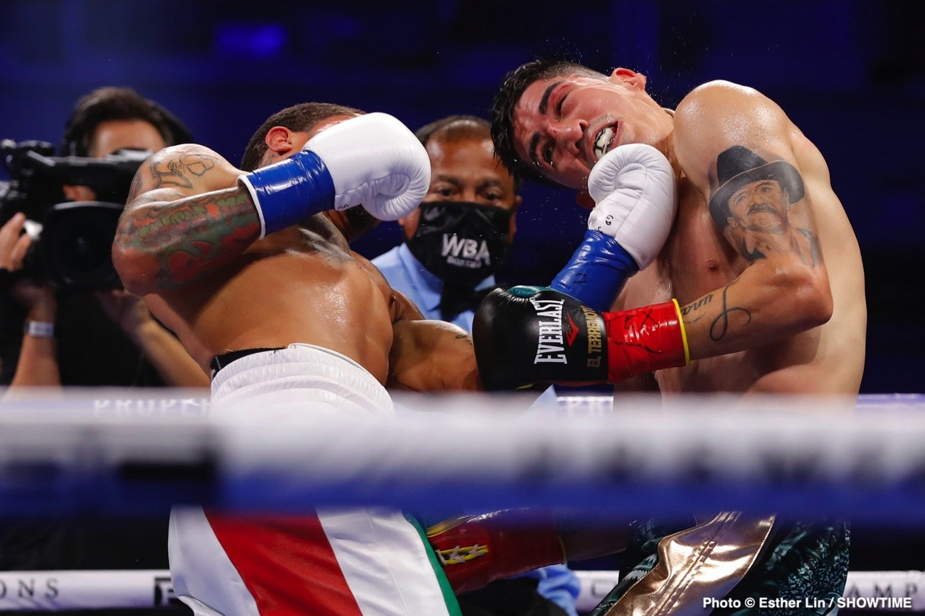 Gervonta Davis, Leo Santa Cruz - In a highlight-reel knockout, Gervonta 'Tank' Davis (24-0, 23 KOs) scored a vicious sixth-round knockout over Leo Santa Cruz (37-2, 19 KOs) to take his WBA 130-lb title from him on Saturday night in front of a live audience at the Alamodome in San Antonio, Texas.