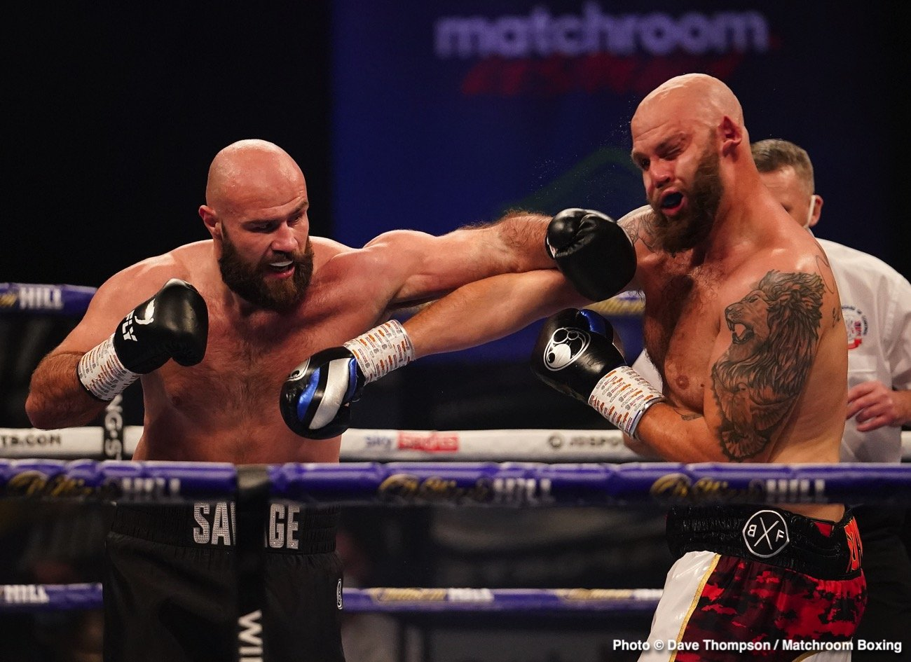 """Alen Babic, Tom Little - Tonight on the Wembley card topped by the Benn-Formella fight, heavyweight slugger Alen Babic picked up another exciting win. The unbeaten Croatian known as """"The Savage"""" stopped a game Tom Little in the third round to improve to 6-0(6). Little, the older man by three years at age 33, falls to 10-9(3)."""