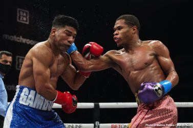 "Devin Haney - Devin Haney wanted the knockout and he wanted it bad. Instead, last night in his first fight in a year, after having undergone shoulder surgery, the unbeaten 21-year-old had to make do with a lopsided decision win over Yuriorkis Gamboa, now 30-4(18). Haney, who referred to 38-year-old Gamboa as a ""stepping stone,"" won every round on two cards and he is now 25-0(15). However, Haney's performance received what can only be described as mixed reviews."