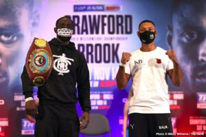 Andrew Moloney, Joshua Franco, Kell Brook, Terence Crawford - The pound-for-pound king, WBO welterweight world champion Terence Crawford, renewed acquaintances with Kell Brook Wednesday afternoon, nearly nine months after they had a brief conversation at the Deontay Wilder-Tyson Fury 2 weigh-in inside the MGM Grand Garden Arena.