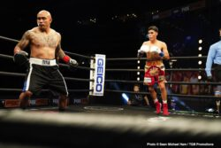 """Antonio Lozada, Javier Fortuna - Former world champion Javier """"El Abejon"""" Fortuna (36-2-1, 25 KOs) delivered a dominating performance in stopping Mexican contender Antonio Lozada (40-5-1, 34 KOs) in the sixth round of their lightweight clash Saturday night headlining FS1 PBC Fight Night and on FOX Deportes from STAPLES Center in Los Angeles."""