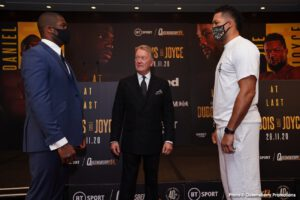 Daniel Dubois, Joe Joyce -   This Saturday afternoon in the states Daniel Dubois and Joe Joyce engage in a battle of the unbeaten prospect on ESPN+. The trinkets tied to this fight shouldn't be mentioned because the matchup sells itself. The winner will move on and further their heavyweight career becoming a true contender. There is a chance the outcome of Saturday's bout is close enough so both will be seen as a legit heavy so we shouldn't pigeon hole the loser. While we're on this subject, a draw could occur or we may leave this fight capping both fighters' ceilings to compete on the upper echelon. The blending of the current term 'smoke' and the old nickname for London 'The Big Smoke' was a must for those wondering on this side of the pond what that means.