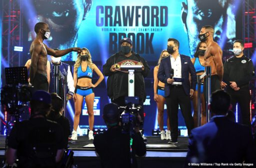 Kell Brook, Terence Crawford - Kell Brook and Terence Crawford both weighed in successfully on Friday for their fight on Saturday night. Brook (39-2, 27 KOs) came in right at the welterweight limit at 147 lbs, and he looked a little thin and emaciated in the face. WBO welterweight champion Crawford (36-0, 27 KOs) weighed in slightly less at 146.4 lbs.