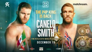 Canelo Alvarez - Canelo Promotions and Matchroom Boxing are delighted to announce that Canelo Alvarez will take on Callum Smith for the WBA and Ring Magazine World Super-Middleweight titles on Saturday, December 19, live on DAZN in 200+ countries and territories worldwide (excluding Mexico).