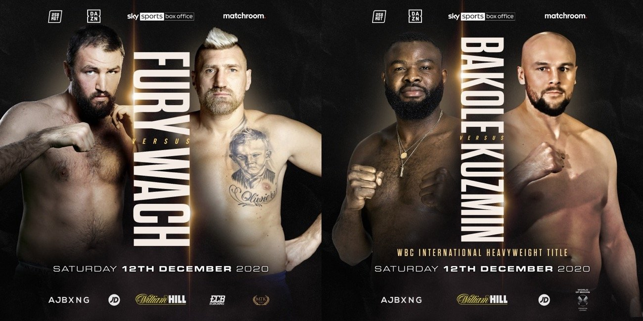 Hughie Fury, Mariusz Wach, Martin Bakole, Sergey Kuzmin - Two exciting Heavyweight matchups have been added to the undercard of Anthony Joshua's Unified World Title defence against Kubrat Pulev on Saturday December 12, shown live on Sky Sports Box Office in the UK and on DAZN in more than 200 countries and territories worldwide.
