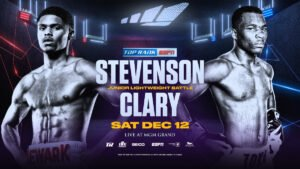 Shakur Stevenson - One of the leaders of boxing's electric youth movement, Shakur Stevenson, is set to close out 2020 in grand fashion. Stevenson, the undefeated former featherweight world champion from Newark, N.J., will fight Toka Kahn Clary in the 10-round junior lightweight main event Saturday, Dec. 12, from MGM Grand Hotel & Casino in Las Vegas.