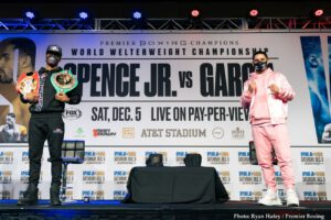 """Angel Garcia, Danny Garcia, Errol Spence - Unified welterweight world champion Errol """"The Truth"""" Spence Jr. and two-division champion Danny """"Swift"""" Garcia previewed their highly anticipated FOX Sports PBC Pay-Per-View main event during the final press conference Wednesday before they step into the ring this Saturday, December 5, at AT&T Stadium in Arlington, Texas."""