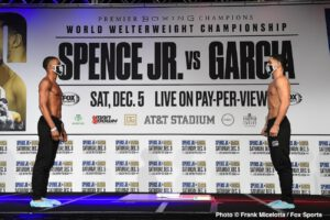 Danny Garcia, Errol Spence Jr. - This Saturday night, Errol Spence Jr. returns to the ring against Danny Garcia for Spence's WBC and IBF welterweight belts at AT&T Stadium in Dallas, Texas, on Fox PPV.