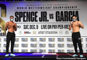 """Francisco Santana - Spence vs. Garcia will see unified welterweight world champion Errol """"The Truth"""" Spence Jr. duel two-division world champion Danny """"Swift"""" Garcia in the blockbuster main event of a FOX Sports PBC Pay-Per-View Saturday, December 5 at AT&T Stadium in Arlington, Texas.The pay-per-view begins at 9 p.m. ET/6 p.m. PT."""