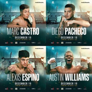 Canelo Alvarez - Marc Castro, Diego Pacheco, Alexis Espino, and Austin Williams will perform on the biggest of stages on the undercard of the World title clash between Canelo Alvarez vs. Callum Smith at the Alamodome in San Antonio, Texas on Saturday, December 19, live on DAZN in 200+ countries and territories worldwide and TV Azteca in Mexico.