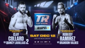 """Brandon Valdes, Clay Collard, Quincy """"Chico"""" LaVallais, Robeisy Ramirez - Boxing's breakout cult sensation of 2020, """"Cassius"""" Clay Collard, hopes to close out the year with a little slice of revenge. Collard will fight Quincy """"Chico"""" LaVallais in an eight-round middleweight rematch of their June 2019 draw Saturday, Dec. 12 at MGM Grand Hotel & Casino in Las Vegas."""
