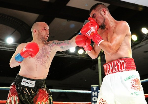"Efrain Esquivias - ORANGE, Calif. (April 27, 2014) - In the shocking result of the night, Ruben Tamayo (23-5-3, 15 KOs) upset the more talented Efrain Esquivias (17-3-1, 10 KOs) in Thompson Boxing Promotions ""Locked n Loaded"" main event, Friday, April 25, from the Doubletree Hotel in Ontario, Calif."