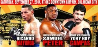 "Samuel Peter - The opponents have been announced for the co-main events on Saturday, September 27, 2014's, ""Rumble on the River"" at OKC Downtown Airpark in Oklahoma City, presented by Ivaylo Gotzev and his Epic Sports and Entertainment."
