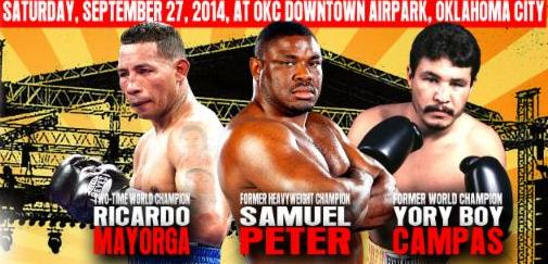 "Ricardo Mayorga, Samuel Peter - The opponents have been announced for the co-main events on Saturday, September 27, 2014's, ""Rumble on the River"" at OKC Downtown Airpark in Oklahoma City, presented by Ivaylo Gotzev and his Epic Sports and Entertainment."