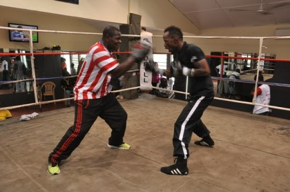Agbeko and Coach Asare at the Media workout