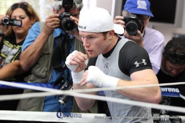 "Floyd Mayweather Jr, Mayweather vs. Canelo, Saul ""Canelo"" Alvarez - BIG BEAR LAKE, Calif. (Aug. 28, 2013) – Dozens of TV camera crews, newspaper reporters, photographers, online boxing media and bloggers made the 100-plus mile trek up the mountain to Big Bear Lake from the Los Angeles area on Tuesday to catch their final glimpse of WBC, WBA & Ring Magazine Super Welterweight World Champion Canelo Alvarez (42-0-1, 30 KO's) before he travels to Las Vegas for his mega-showdown with undefeated Eight-Time and Five-Division World Champion Floyd ""Money"" Mayweather (44-0, 26 KO's) as they headline ""THE ONE: MAYWEATHER VS. CANELO'' fight card on Saturday, Sept. 14, from the MGM Grand Garden Arena in Las Vegas, Nev., live on SHOWTIME PPV®."