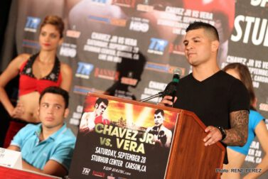 "Brian Vera, Chavez Jr. vs. Vera, Julio Cesar Chavez Jr. - CARSON, CALIF. (August 29, 2013) --  Former World Boxing Council (WBC) middleweight champion and Son of the Legend JULIO CÉSAR CHÁVEZ, JR., returning to the ring in his 2013 debut, and No. 1 contender BRYAN ""The Warrior"" VERA formally announced their fight at a packed Los Angeles press conference today.  Taking place Saturday, September 28, under the stars at StubHub Center in Carson, Calif.,  the Chávez vs. Vera 12-round super middleweight rumble marks the first time Chávez has fought in the Los Angeles area since June 4, 2011, when he won the world title over undefeated interim world champion Sebastian Zbik.  The fight will be televised live on HBO World Championship Boxing®, beginning at 10:15 p.m. ET/PT."