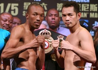 """Nonito Donaire - WBA undisputed featherweight world champion Simpiwe  """"V12"""" Vetyeka and four-division world champion and 2012 Fighter of the Year, Nonito """"Filipino Flash"""" Donaire weigh in (Vetyeka 125.5 lbs, Donaire 126 lbs) Friday for their upcoming world title fight,  Saturday, May 31 from the Cotai Arena at The Venetian Macao Resort in Macau, China."""