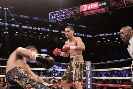 "Garcia vs. Salka - (Photo Credit: Amanda Kwok / SHOWTIME) BROOKLYN, N.Y. (August 10, 2014) – Danny ""Swift "" Garcia (29-0, 17 KOs) looked sharp with a crushing second-round knockout victory over ""Lighting"" Rod Salka (19-4, 3 KOs) in the SHOWTIME CHAMPIONSHIP BOXING® main event in front of 7,012 fans Saturday night at Barclays Center in Brooklyn, N.Y."