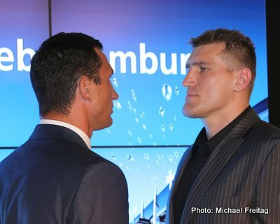 Klitschko vs. Wach, Mariusz Wach, Wladimir Klitschko - By James Slater - Those fans who have been waiting oh, so long to see heavyweight king Wladimir Klitschko's formidable skills tested to the full might, just might be about to see the 36-year-old in a real fight. Hardly pushed at all since his first encounter with the hard-hitting Samuel Peter, way back in 2005 (although to be fair, David Haye did win a couple of sessions during his July 2011 challenge of Wlladimir), Klitschko has gone through the likes of Ruslan Chagaev, Jean Marc Mormeck and, last time out, Tony Thompson, like a hot knife through warm butter.