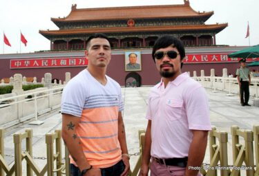 Brandon Rios, Manny Pacquiao, Pacquiao vs. Rios -    BEIJING (July 30, 2013) -- Stop No. 2 on the Manny Pacquiao – Brandon Rios 23,722-mile international media tour to promote their historic 12-round welterweight rumble has landed them in Beijing.  On Monday, Pacquiao, Rios and their respective trainers, Hall of Famer Freddie Roach and Trainer of the Year Robert Garcia, began the day with a little morning roadwork – approximately 3,000 steps worth -- as they climbed a portion of the Great Wall, at Shuiguan, which was built during the Ming Dynasty (1368-1644), and is famous for its precipitous cliffs and beautiful views.
