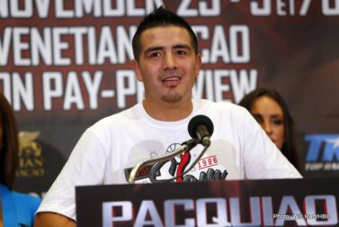Brandon Rios, Manny Pacquiao, Pacquiao vs. Rios - After a tour through Asia, Manny Pacquiao and Brandon Rios returned to the U.S. for a press event in the Big Apple.