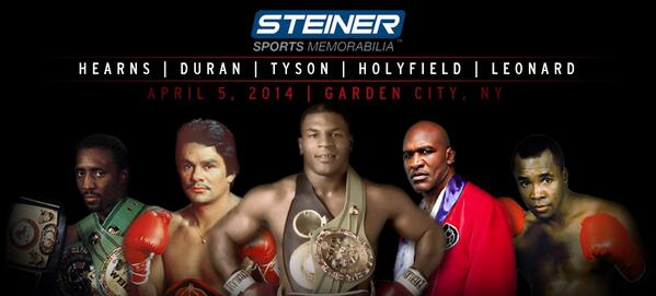 Boxing Legends convene @ Steiner Store April 2: Holyfield, Tyson, Leonard, Duran, Hearns