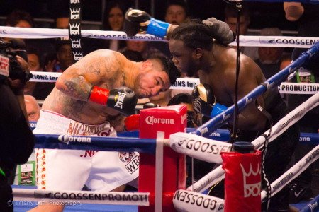 """Chris Arreola - (Photo credit: Tiffany Lam) Bermane """"B Ware"""" Stiverne's 24-1-1 (21KO) toughest task saturday night at USC Galen Center, Los Angeles, California seemed to be getting off the canvas himself.  He put himself there collapsing, completely overjoyed with his 6th round stoppage of Chris """"The Nightmare"""" Arreola 36-4-0 (31KO).  The end came at 2:02 of the 6th round, when referee Jack Reiss stopped the fight."""