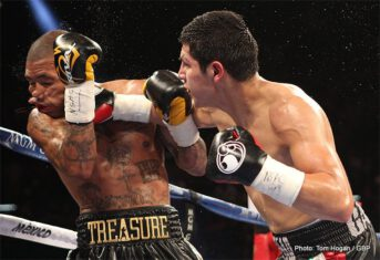 Danny Garcia, Garcia vs. Matthysse, Lucas Matthysse -  Danny Garcia retained the unified super lightweight world title with an impressive performance against the favored Lucas Matthysse. Utilizing solid combinations and body shots, Garcia executed a solid game plan en route to a unanimous decision (115-111, 114-112, twice).