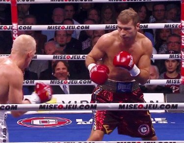 Lucian Bute in action on 12/6 at Bell Centre in Montreal, Canada