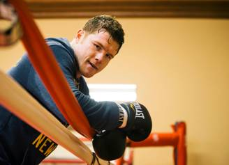 """Saul """"Canelo"""" Alvarez - (Canelo Photo Credit: Esther Lin/SHOWTIME) San Diego (Feb. 11, 2014) - Mexican boxing superstar Canelo Alvarez and his vicious, hard-hitting foe, Alfredo """"El Perro"""" Angulo have been busy at their training camps in San Diego and Oakland, Calif., respectively as they ready themselves for their upcoming showdown on Saturday, March 8 live on SHOWTIME PPV® from the MGM Grand Garden Arena in Las Vegas."""