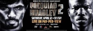 """Pacquiao vs. Bradley II -             HOLLYWOOD, CALIF. (March 18, 2014) – After completing his first week of training camp at his Hollywood-based Wild Card Boxing Club with Fighter of the Decade MANNY """"Pacman"""" PACQUIAO, Hall of Fame trainer World-Famous FREDDIE ROACH had a few observations he wanted to share as they prepare for their rematch challenge of undefeated World Boxing Organization (WBO) welterweight champion TIMOTHY """"Desert Storm"""" BRADLEY.  Pacquiao-Bradley 2 will take place Saturday, April 12, at the MGM Grand Garden Arena in Las Vegas, Nev.  It will be produced and distributed live by HBO Pay-Per-View®, beginning at 9:00 p.m. ET / 6:00 p.m. PT:"""