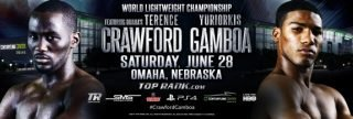 """Crawford vs. Gamboa - The 5'5 ½"""" Yuriokis Gamboa (23-0, 16 KO's) will be giving up nearly 3 inches in height and 5 inches in reach this Saturday night in his fight against 5'8"""" WBO lightweight champion Terence Crawford (23-0, 16 KO's) at the CenturyLink Center, in Omaha, Nebraska, USA."""
