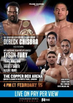 Fury vs. Abell - Tonight two of the best heavyweights in England will be in action in separate bouts with a lot on the line for both of them. England's Dereck Chisora (19-4, 13 KO's) has a 12 round fight against Kevin Johnson (29-4-1, 14 KO's) in the main event at the Copper Box Arena. In the co-feature, heavyweight Tyson Fury (21-0, 15 KO's) fights Joey Abell (29-7, 28 KO's). The promoters for Fury and Chisora want to match them up in a fight in the Summer in a WBO heavyweight title eliminator bout, but both guys need to make sure they win their fights tonight against their less than dangerous opposition.