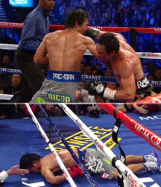 Pacquiao vs. Marquez IV - by Geoffrey Ciani - With nearly half his face covered in flowing streams of blood, Juan Manuel Marquez resembled something out of a zombie movie during the sixth round of action in his fourth fight against Manny Pacquiao. Despite suffering a solid third round knockdown from a sneaky Marquez right, Pacquiao seemed to have momentum on his side after scoring a nice knockdown of his own in the fifth. This came compliments of a sharp Pacquiao left that buckled Marquez to the point his glove bounced off the canvas in a spontaneous effort to reestablish balance. Pacquiao turned up the heat following the knockdown and began growing bolder throughout the sixth, and all the while Marquez was patiently trying to fend off Manny's attacks while looking for something in Pacquiao's rhythm he could exploit. And then it happened, he found it—BOOM!—fight over, just like that!