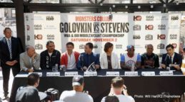 """Curtis Stevens, Gennady Golovkin, Golovkin vs. Stevens -  The beautiful Refinery Hotel Rooftop in mid-town Manhattan played host on Wednesday afternoon to a massive New York City media turnout to formally announce, MONSTERS COLLIDE, Middleweight World Championship at """"The Mecca of Boxing"""" with boxing's fastest rising superstar, WBA and IBO World Middleweight Champion Gennady """"GGG"""" Golovkin defending his titles against top rated contender, Curtis """"Kryptonite"""" Stevens set for Saturday, NOVEMBER 2 at The Theatre at Madison Square Garden. The fight will be televised Live on HBO®."""