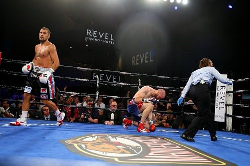 "Blake Caparello - (Photo Credit:  Rich Graessle/Main Events) In the much-anticipated WBO Light Heavyweight World Championship bout, Sergey ""Krusher"" Kovalev (25-0-1, 23 KO's*) takes down undefeated Australian challenger Blake ""Il Capo"" Caparello (19-1-1, 6 KO's) in the second round in the third defense of his WBO Light Heavyweight World Title. Kovalev was under a microscope these last few days with the possibility of a unification bout with Bernard ""Alien"" Hopkins looming. Krusher did not let the pressure get to him, he focused only on the opponent in the ring with him tonight."