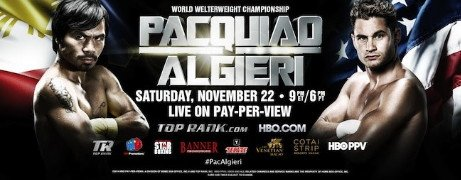 Chris Algieri - The November 22nd fight between WBO welterweight champion Manny Pacquiao and Chris Algieri, which will be televised by HBO pay-per-view, is getting only one thirty minute 24/7 series on HBO on November 8th at 1:00 a.m. (ET/PT) following the World Championship Boxing match-up between 49-year-old grizzled veteran Bernard Hopkins and the younger 31-year-old Sergey Kovalev.