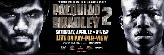 Manny Pacquiao, Pacquiao vs. Bradley II, Tim Bradley - Former 8 division world champion Manny Pacquiao (55-5-2, 38 KO's) doesn't plan on using any kind of secret plan in how to beat WBO welterweight champion Tim Bradley (31-0, 12 KO's) and win back his strap next month in their rematch on April 12th at the MGM Grand in Las Vegas, Nevada.