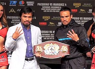 Pacquiao vs. Marquez IV - by Geoffrey Ciani - When Manny Pacquiao (54-4-2, 38 KOs) squares off against Juan Manuel Marquez (54-6-1, 39 KOs) for a fourth time this Saturday, boxing fans already have a fairly good idea of what to expect. After all, even though Pacquiao officially has two victories and a draw against Marquez, these two have essentially battled to a stalemate after thirty-six rounds of action. If their past three encounters are any indication, there is little reason to believe things will unfold much differently in this fourth installment. The natural order of these clashing styles seemingly demands a fierce and competitive contest, and there is a strong likelihood this will yet again prove true on Saturday.